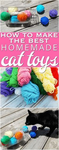 DIY cat toys: How to make homemade cat toys. This is the best tutorial for an easy no-sew cat toy with yarn. Every cat loves them! AD