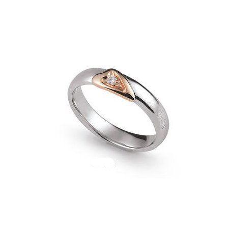 Fede Nuziale Orsini oro bianco e rosa con diamante FE341 Gioielloro.it - La tua