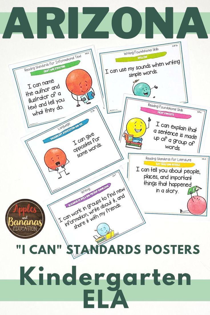 Arizona kindergarten ela i can posters in 2020