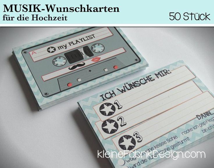 50 MUSIK-WUNSCH KARTEN für die Hochzeit in Mint von KleineFabrik auf DaWanda.com