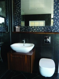 Dark powder room from Tiles and Wetrooms