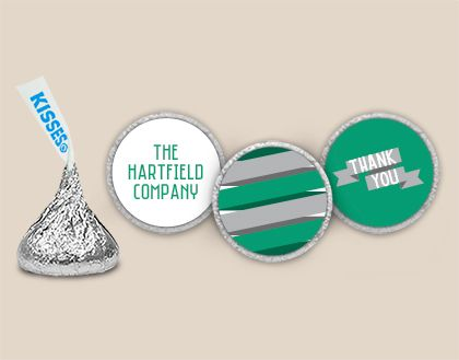 Personalized Thank You Stickers for HERSHEY'S KISSES candy -- Affordable Thank You Gifts for Corporate Events #whcandy #candystickers #corporategifts #thankyougifts