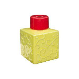 Goatier cube motif arabesques vert anis et rouge - 250 ml  7 x 7 x 11 cm (L x l x h)