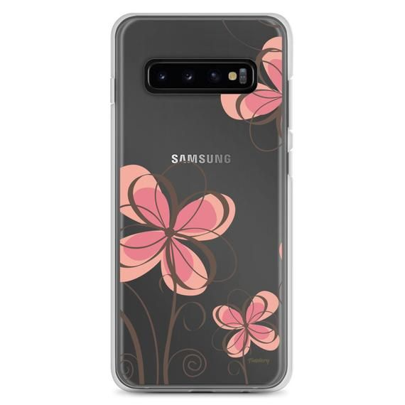 Samsung Case – Floral Ilustration – Transparent Background – Pink- Samsung Galaxy S10, S10+, S10e, S7, S7 Edge, S8, S8+, S9, S9+