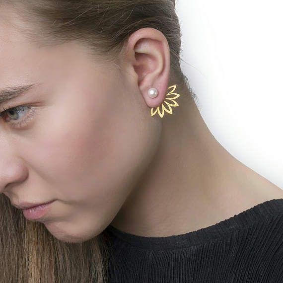 Daisy Ear JacketsPearl Σκουλαρίκια Μπουφάν μαργαριτάρι σκουλαρίκια στηριγμάτων