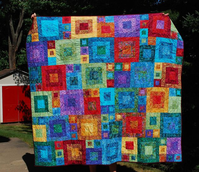 Batik quilt...Sue you could probably make a couple of these in different colorways with all your batiks!