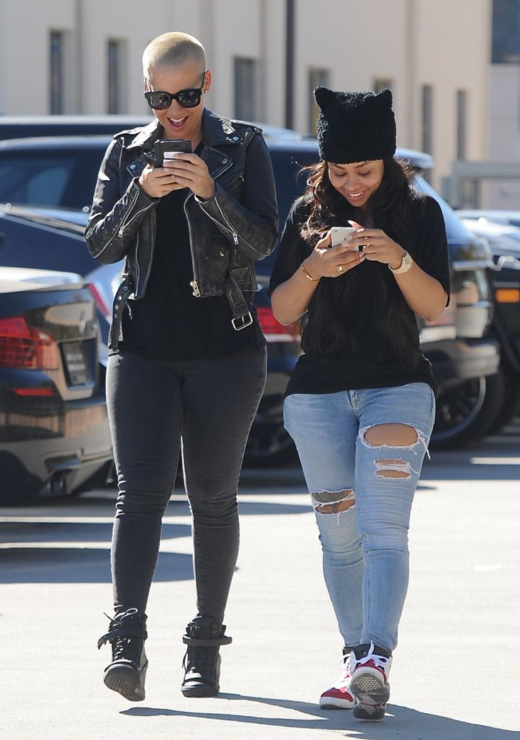 Amber Rose and Blac Chyna spotted texting and laughing enroute to lunch