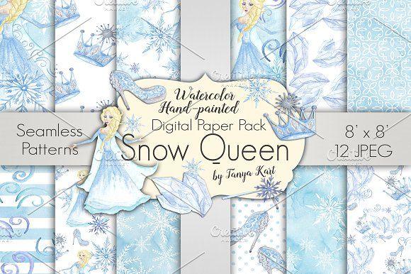 Snow Queen Digital Paper Pack by Tanya Kart on @creativemarket
