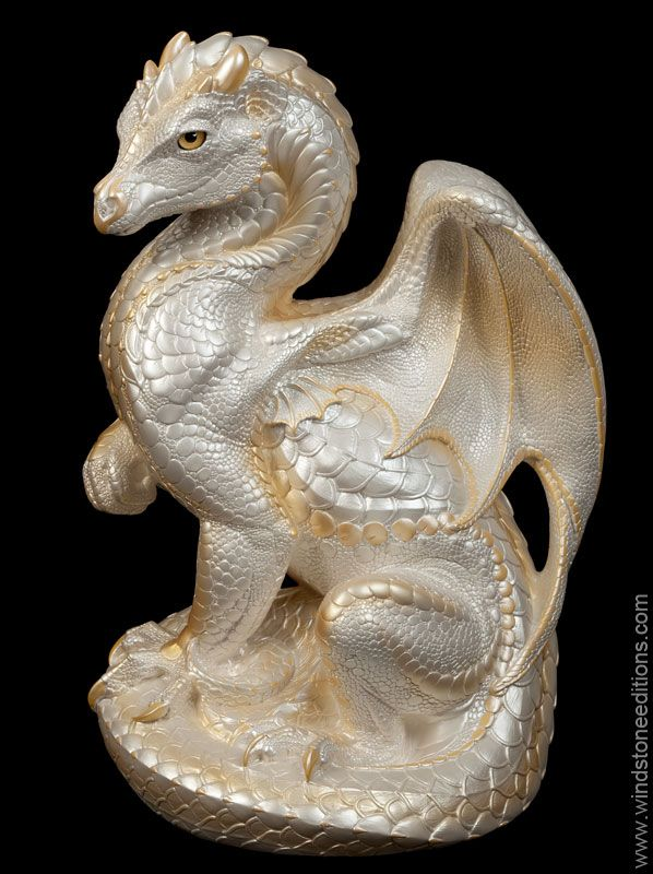 Secret Keeper Dragon - White, Airbrushed and Hand-painted Dragon Statue / Giant Figurine $1,000 #dragon #fantasy #statue