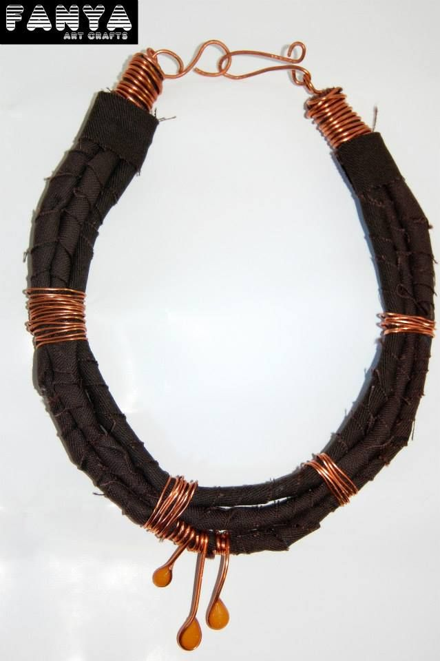 "Statement necklace ""Marrakesh""  *Made by paracords, copper wire and handpainted resin*"