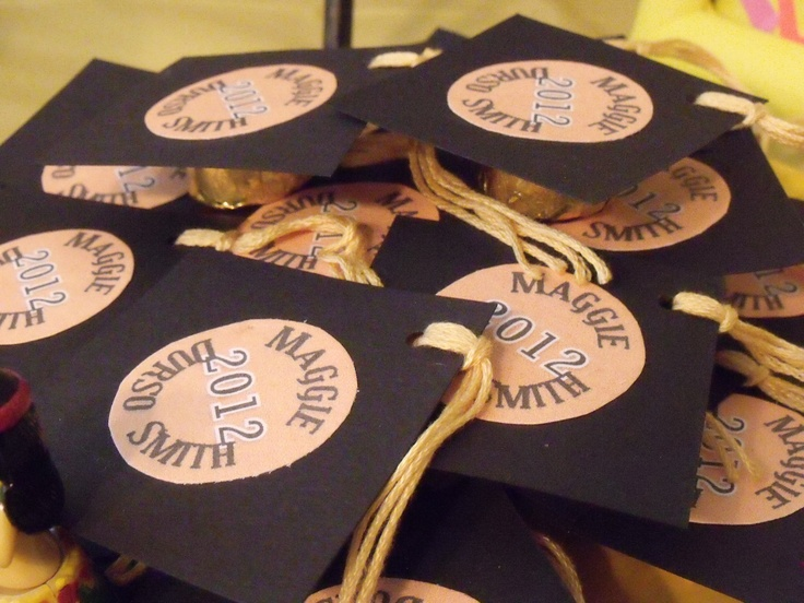 Custom graduation cap favors made with Rolo candy and embroidery floss tassels.