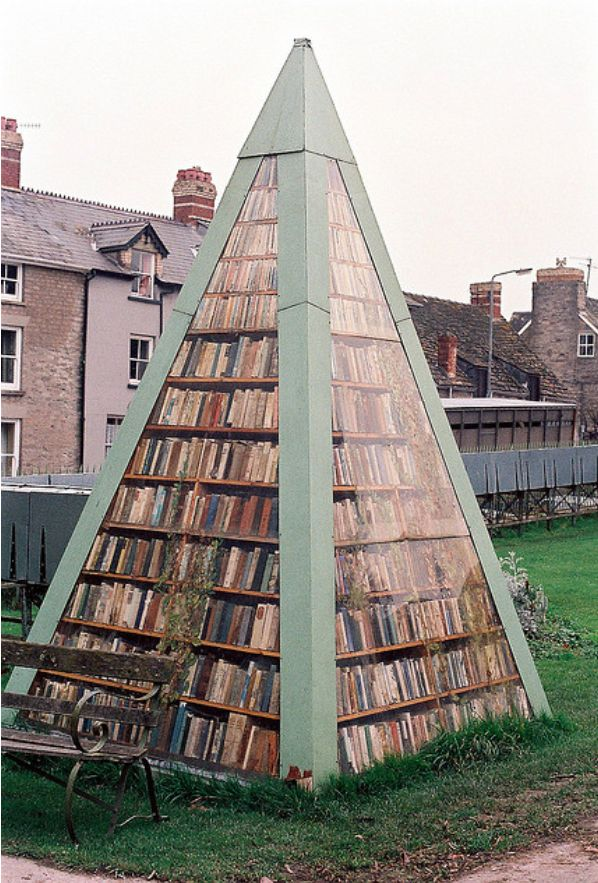 "Book pyramid, Hay-on-Wye, also known as ""the town of books"", is a small market town  community in Powys, Wales."
