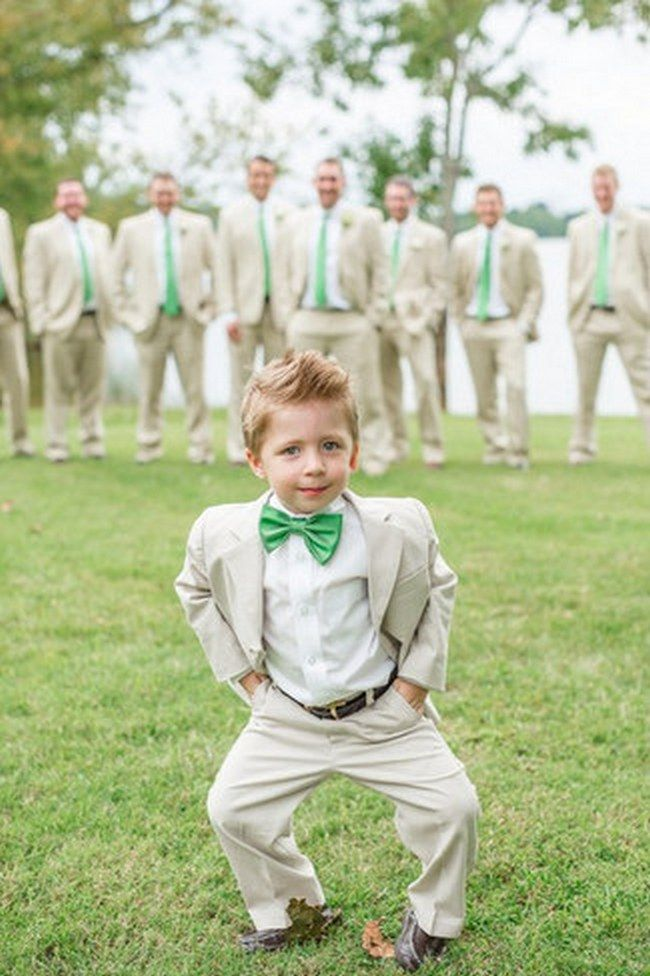 I like the idea of having the ring bearer in the foreground  groomsmen in the background!!