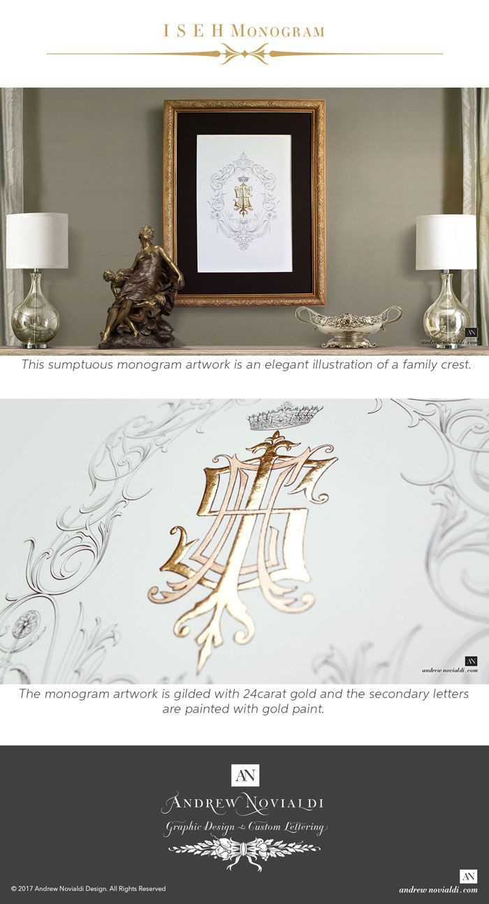 This sumptuous monogram artwork is an elegant illustration of a family crest. The four members of the family are represented by the letters I, S, E and H. The monogram is coronated with a royal crown and flourishes of aesthetically pleasing scrolls and leaves. The monogram is gilded with genuine 24 carat gold on the two main letters, the letters I and S — burnished to high reflective gleam. The secondary letters E and H are painted with paint made of gold dust.