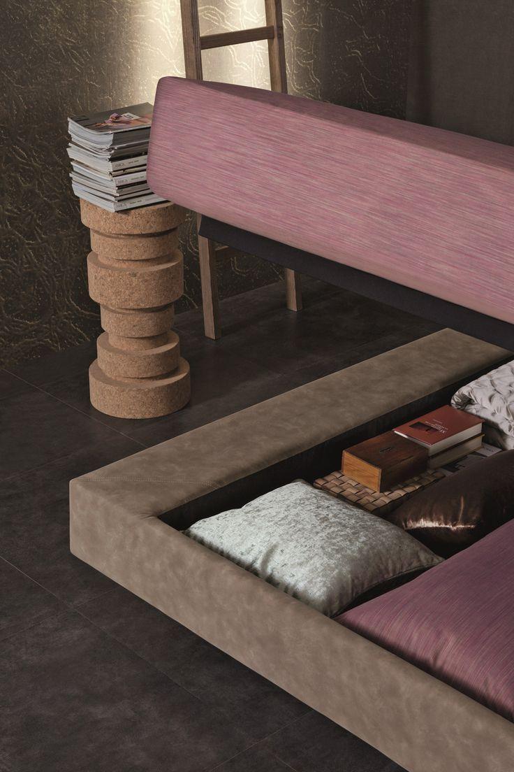 BRAVO SHELF upholstered low storage bed.