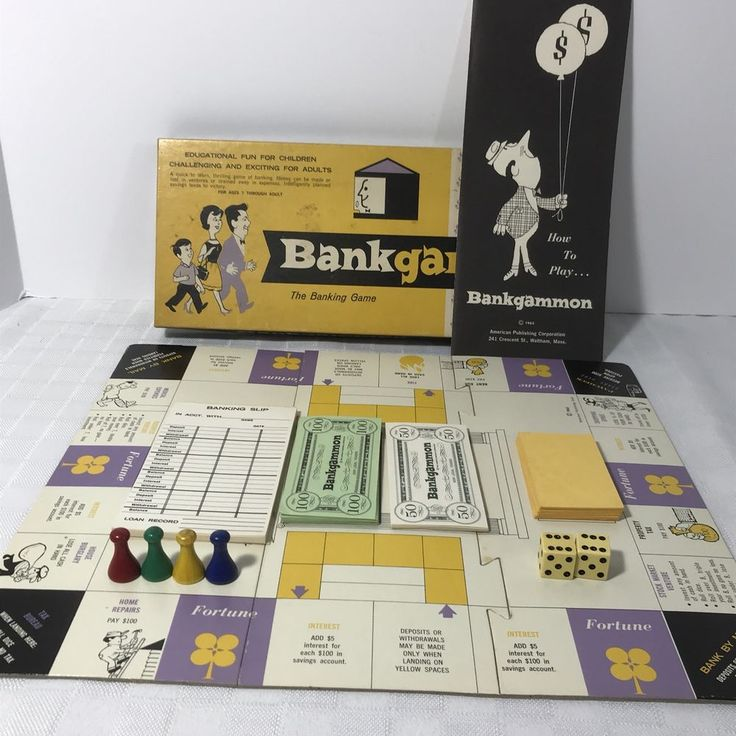 Bankgammon -The Banking Game - Complete w/Instructions and all parts 1963 #AmericanPublishingCorp