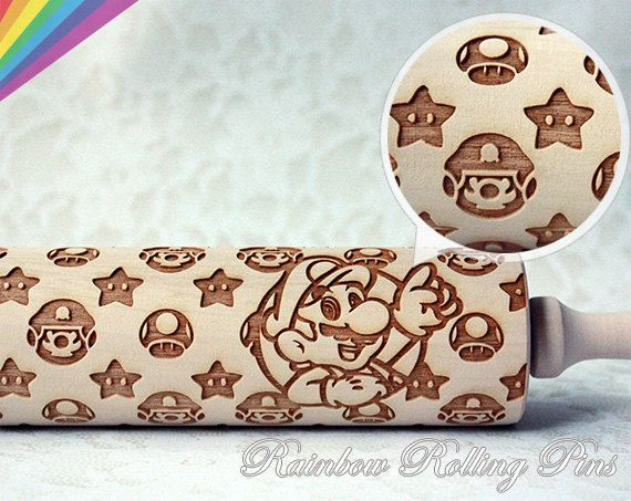 Embossing rolling pin for cookies laser engraved Super mario super smash bros Nintendo fondant cupcake toppers video game party favor art