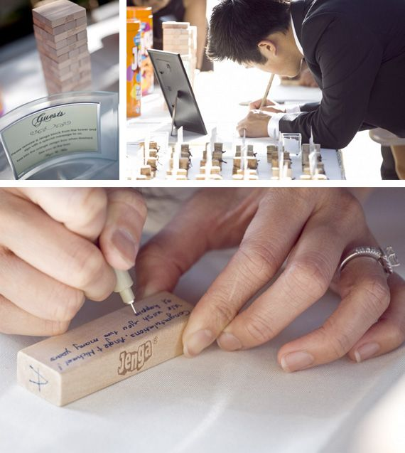 Great idea!....a jenga guest book - write your message on a jenga game piece  @Lauren DiLeonarde