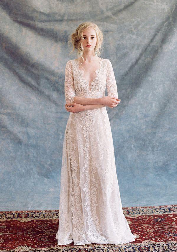 Boho Chic Designer Brautkleider Spitze mit V-Ausschnitt