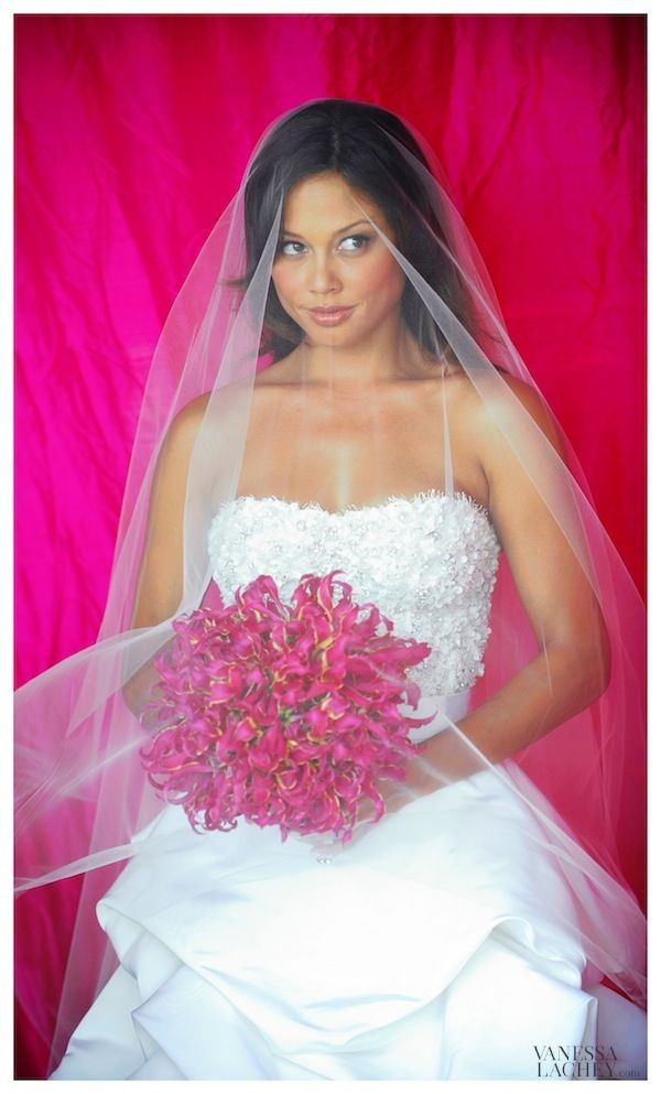 Vanessa Lachey with her Gloriosa Magenta Lily Wedding Bouquet. Love this picture!!