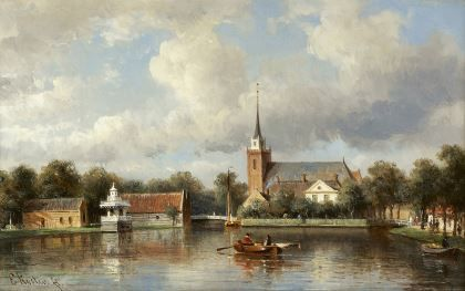 Everhardus Koster (Den Haag 1817-1892 Dordrecht) Rowers on a canal, Broek in Waterland - Dutch Art Gallery Simonis and Buunk Ede, Netherlands.
