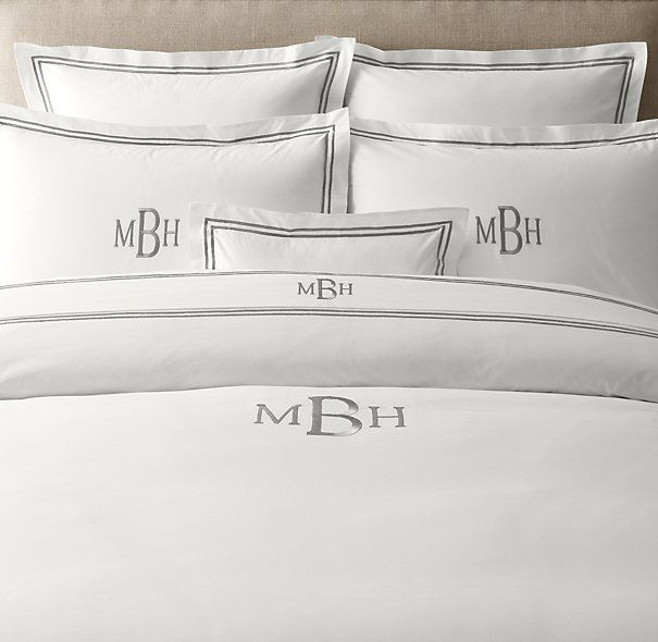 Italian Hotel Satin Stitch White Duvet Cover | Duvet Covers | Restoration Hardware