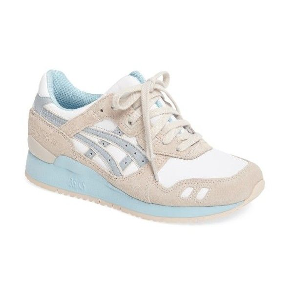 Women's Asics 'Gel-Lyte Iii' Sneaker ($100) ❤ liked on Polyvore featuring shoes, sneakers, asics trainers, asics sneakers, asics footwear, asics shoes and shock absorbing shoes