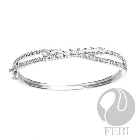 Criss Cross Bracelet  Sterling Silver and AAA white cubic zirconia $440
