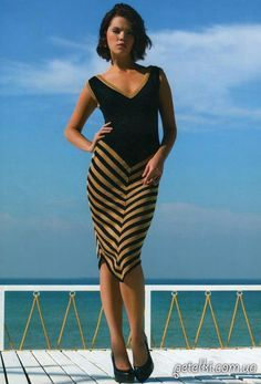 Стильное вязаное спицами платье. Описание, выкройка
