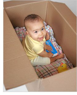 Idea for baby 9 month old/ play in a box. My son pretty much does this on his own.