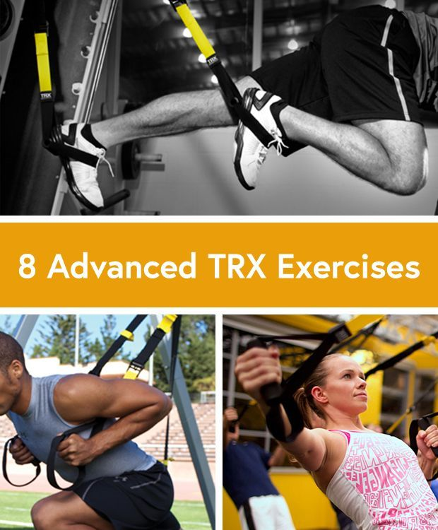 """8 Advanced TRX Exercises to Build Strength TRX Power Pull TRX Sprinters Start TRX Chest Press to Standing Roll Out TRX Single-Leg Squat TRX """"T"""" Deltoid Fly TRX Suspended Lunge TRX Bicep Curl TRX Hamstring Curl"""