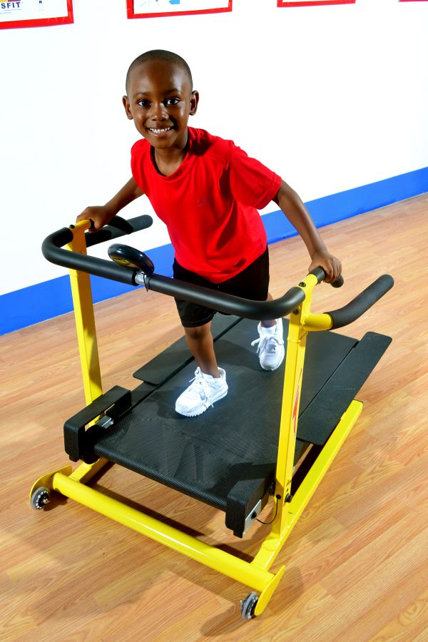 SS114 Super Small Treadmill  This Super Small Treadmill improves cardiovascular health while fine tuning skills such as balance, coordination and proprioception. Gait, sequencing and timing are also enhanced as children walk and jog on the super small manual treadmill. Direct adult supervision is required at all times. www.kidsfit.com