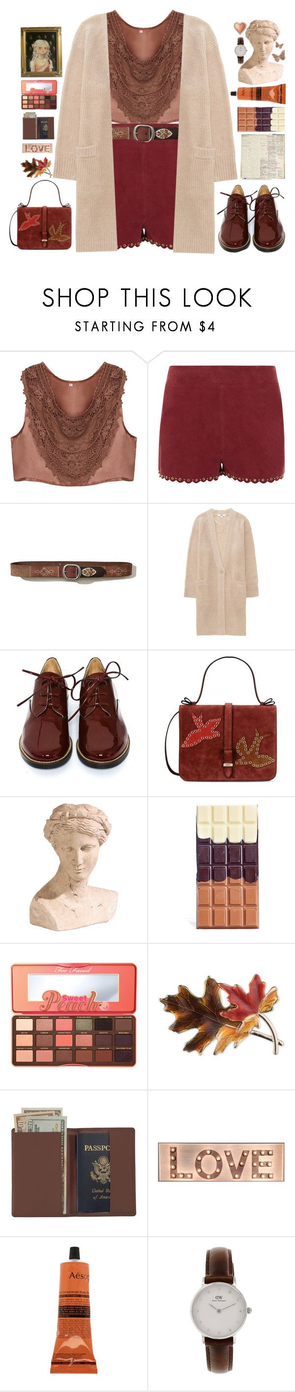 """""""Suede Shorts"""" by doga1 ❤ liked on Polyvore featuring Vanessa Bruno, Hollister Co., Uniqlo, MM6 Maison Margiela, RED Valentino, Ethan Allen, Black Apple, Too Faced Cosmetics, Anne Klein and Royce Leather"""