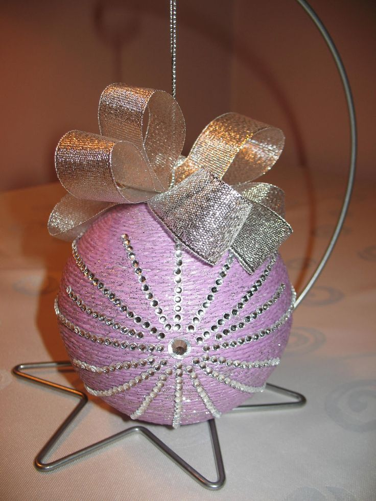 violet christmas ball with crystals