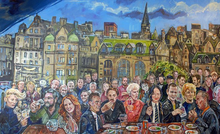 My new Scottish nostalgia mural painted in Edinburgh's A Room in the West End restaurant - this section featuring the original cast of Trainspotting (including Robert Carlyle, Jonny Lee Miller, Kelly MacDonald, Ewan McGregor, Kevin McKidd, Ewen Bremner and Shirley Henderson), Tilda Swinton, Karen Gillan, Danny Boyle, Andy Murray, Jamie Murray and JK Rowling. Edinburgh's Old Town skyline is the perfect backdrop to these well-kent faces.