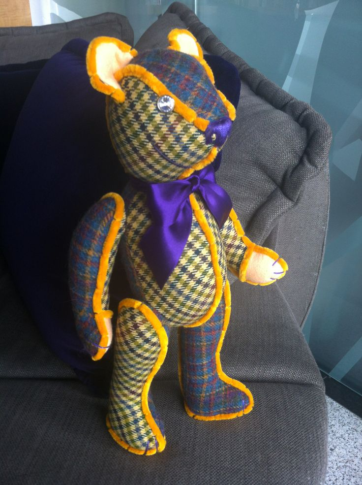 Edward IV, another Scottish style Teddy bear, with purple lace and original design. By GSBears, Barcelona