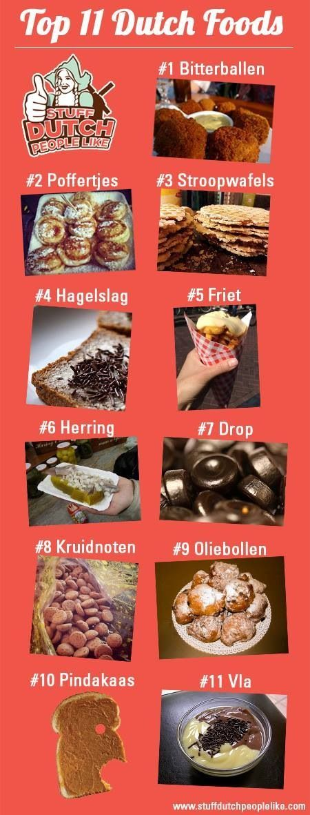 """Top 11 Dutch foods in Holland...yep! However the one that says """"pindakaas"""", peanutbutter, I'd say is pretty universal, not typically Dutch?"""
