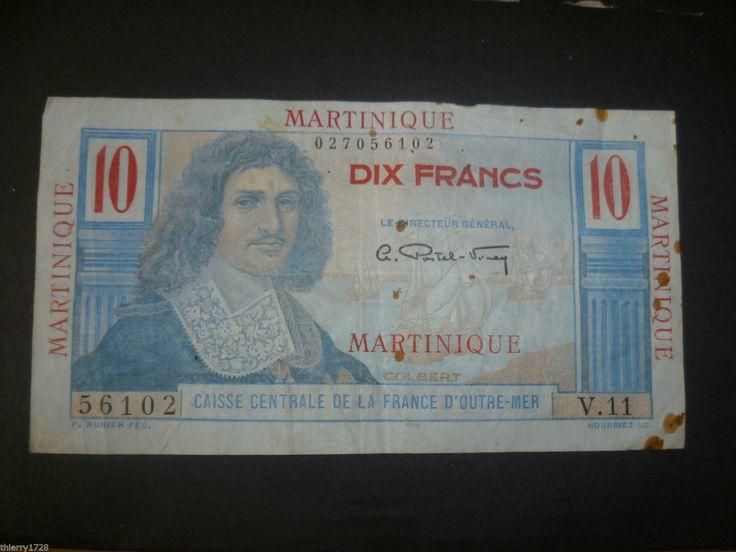 BILLET DE BANQUE ANCIEN 10 F MARTINIQUE CAISSE CENTRALE FRANCE OUTRE-MER | eBay