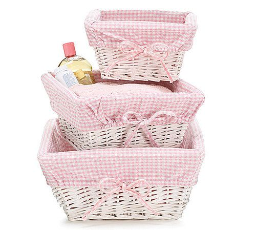 Pink Gingham Lined Wicker Nest