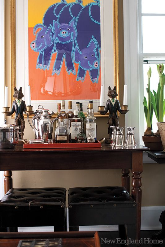 the bar table is from lillian august in this southport ct home photo by john gould bessler