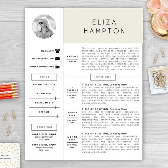 Resume Template with Photo Resume by ResumeTemplateStudio on Etsy