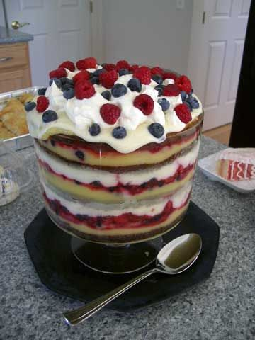 English trifle (use angel food cake instead of pound cake for a lighter, more moist trifle) also don't need the lemon curd, just custard