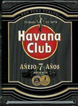 Carte postale métallique / mini pancarte noire rhum Havana Club: Carte postale métallique / mini pancarte 110mm x 80mm