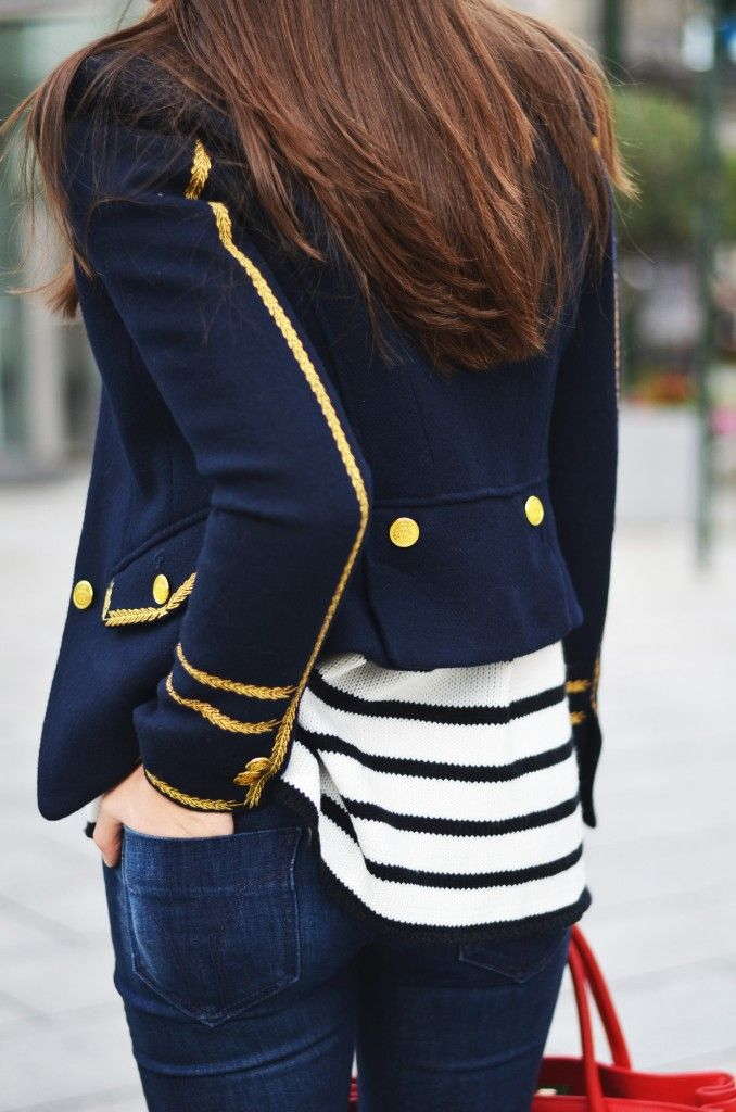 Navy Jacket with Gold Embellishment...Staple piece in any wardrobe