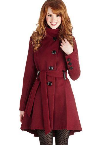 Winterberry Tart Coat in Burgundy, #ModCloth