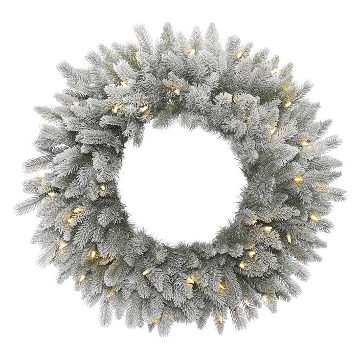 Vickerman 36 in. Frosted Sable Pine Pre-Lit Wreath with 100 Warm White Lights - A156837LED