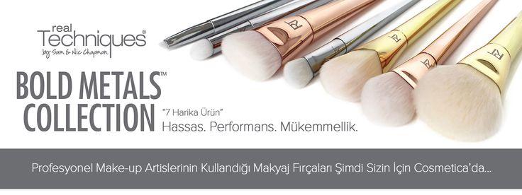 Real Techniques Bold Metals serisi fırçalar sizler için Cosmetica'da Satın almak için; http://bit.ly/realtechbold