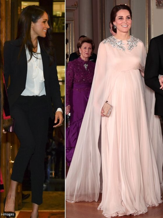 hrhduchesskate: Prince Harry's fiancée Meghan Markle and the Duchess of Cambridge both selected Alexander McQueen outfits for events on February 1, 2018