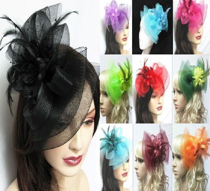 Hair Fascinator Hat Bow Shape Wedding Party Hair Clip Red, Black, White all CLRs #Unbranded