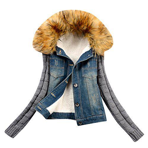 Veste en jean avec col fourrure femme